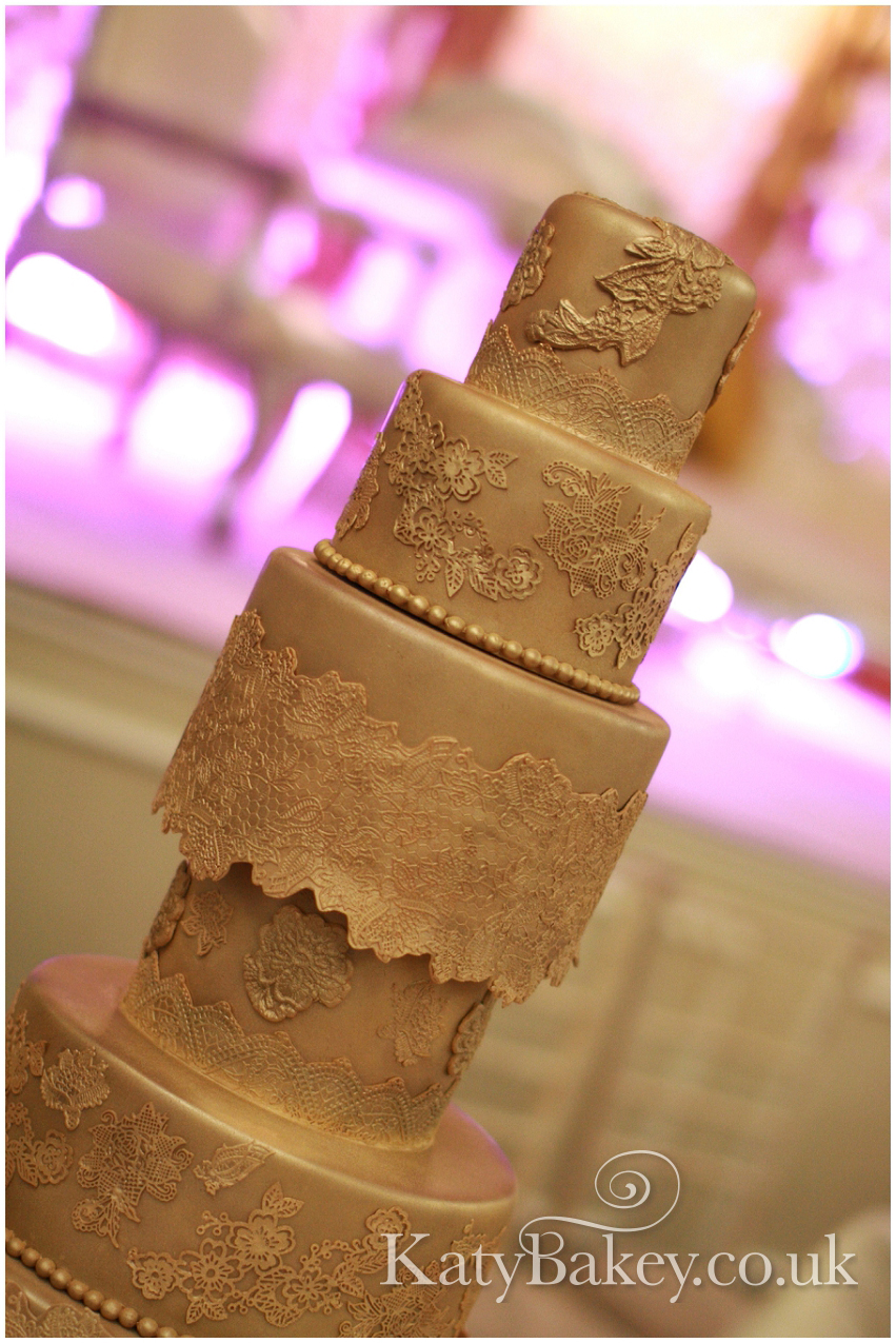 All that Glitters - gold Wedding cake by KatyBakey